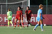 4th September 2021; Agostino di Bartolomei Stadium, Rome, Italy; Serie A womens championship football, AS Roma versus Napoli ; Annamaria Serturini celebrates the goal for AS Roma