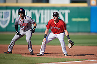 Erie SeaWolves first baseman Josh Lester (17) holds Gio Brusa (28) on base during an Eastern League game against the Richmond Flying Squirrels on August 28, 2019 at UPMC Park in Erie, Pennsylvania.  Richmond defeated Erie 6-4 in the first game of a doubleheader.  (Mike Janes/Four Seam Images)