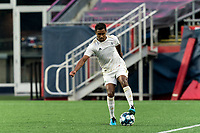 FOXBOROUGH, MA - AUGUST 5: Pecka #7 of North Carolina FC controls the ball during a game between North Carolina FC and New England Revolution II at Gillette Stadium on August 5, 2021 in Foxborough, Massachusetts.