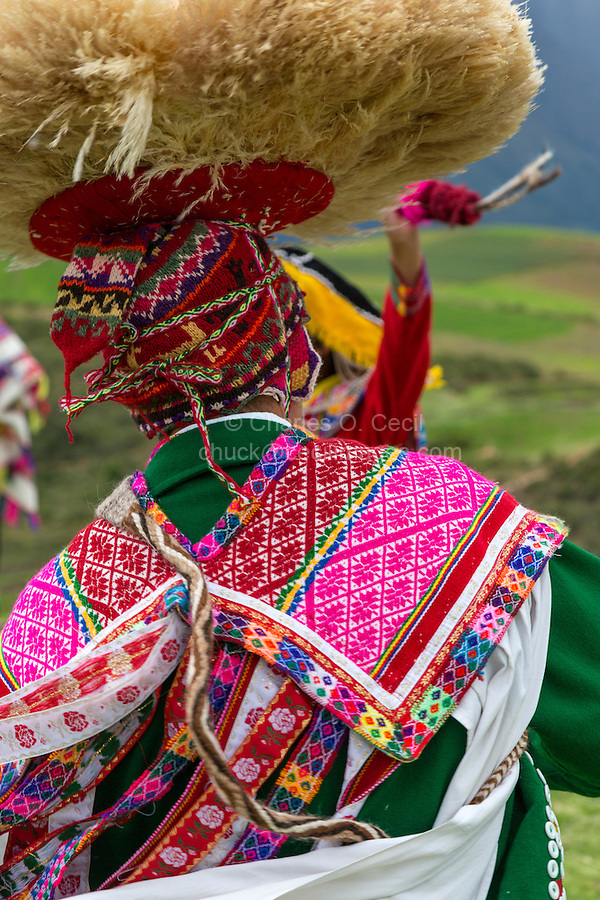 Peru, Moray, Urubamba Valley.  Back of Costume and Hat of Quechua Dancer.