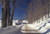Vermont, road, Reading, VT, Snow-covered country road leads to Jenne Farm in the winter.