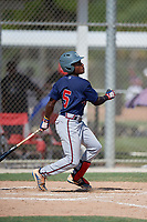 Ryan Spikes (5) during the WWBA World Championship at JetBlue Park on October 10, 2020 in Fort Myers, Florida.  Ryan Spikes, a resident of Lilburn, Georgia who attends Parkview High School, is committed to Tennessee.  (Mike Janes/Four Seam Images)