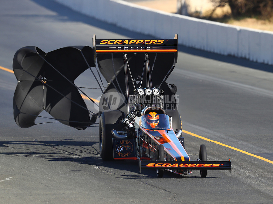 Jul 29, 2017; Sonoma, CA, USA; NHRA top fuel driver Mike Salinas during qualifying for the Sonoma Nationals at Sonoma Raceway. Mandatory Credit: Mark J. Rebilas-USA TODAY Sports