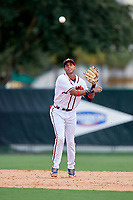 GCL Braves shortstop Juan Morales (24) throws to first base during the first game of a doubleheader against the GCL Yankees West on July 30, 2018 at Champion Stadium in Kissimmee, Florida.  GCL Yankees West defeated GCL Braves 7-5.  (Mike Janes/Four Seam Images)