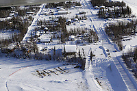 Saturday March 10, 2012  Aerial view of the Galena checkpoint. Iditarod 2012.