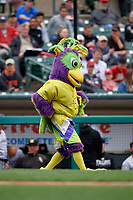 BirdZerk performs during a Rochester Red Wings International League game against the Charlotte Knights on June 16, 2019 at Frontier Field in Rochester, New York.  Rochester defeated Charlotte 3-2 in the second game of a doubleheader.  (Mike Janes/Four Seam Images)