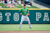 Gwinnett Stripers shortstop Tyler Smith (9) during a game against the Columbus Clippers on May 17, 2018 at Huntington Park in Columbus, Ohio.  Gwinnett defeated Columbus 6-0.  (Mike Janes/Four Seam Images)