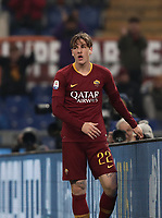 Football, Serie A: AS Roma - Bologna FC, Olympic stadium, Rome, February 18, 2019. <br /> Roma's Nicolò Zaniolo reacts during the Italian Serie A football match between AS Roma and Bologna FC at Olympic stadium in Rome, on February 18, 2019.<br /> UPDATE IMAGES PRESS/Isabella Bonotto