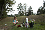 Saturday, August 8, Aberdeen, NC..A memorial service was held for Brent Gray, a former special forces soldier and private contractor killed in Iraq on August 18, 2006, at Bethesda Cemetery. After the cemetery, the memorial was continued at a favorite bar of Mr. Gray in nearby Southern Pines.. Mr. Gray's niece and the daughter of his sister Randi, who organized the memorial, at his grave.