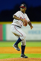 Danville Braves relief pitcher Carlos Perez (32) in action against the Burlington Royals at Burlington Athletic Park on July 18, 2012 in Burlington, North Carolina.  The Royals defeated the Braves 4-3 in 11 innings.  (Brian Westerholt/Four Seam Images)