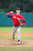 Joseph Peeler (29) of East Rowan High School in Salisbury, North Carolina playing for the Boston Red Sox scout team at the South Atlantic Border Battle at Doak Field on November 1, 2014.  (Brian Westerholt/Four Seam Images)