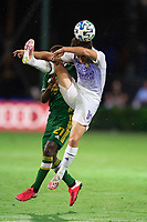 LAKE BUENA VISTA, FL - AUGUST 11: Mauricio Pereyra #10 of Orlando City SC battles the ball during a game between Orlando City SC and Portland Timbers at ESPN Wide World of Sports on August 11, 2020 in Lake Buena Vista, Florida.
