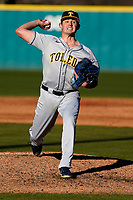 Nate Haugh (19) of the University of Toledo Rockets pitches in a game against the University of South Carolina Upstate Spartans on Friday, February 19, 2021, at Cleveland S. Harley Park in Spartanburg, South Carolina. Upstate won, 14-2. (Tom Priddy/Four Seam Images)