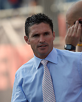 New England Revolution coach Jay Heaps. In a Major League Soccer (MLS) match, New England Revolution defeated New York Red Bulls, 2-0, at Gillette Stadium on July 8, 2012.