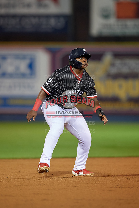 Reading Fightin Phils Cornelius Randolph (2) leads off second base during an Eastern League game against the Trenton Thunder on August 16, 2019 at FirstEnergy Stadium in Reading, Pennsylvania.  Trenton defeated Reading 7-5.  (Mike Janes/Four Seam Images)