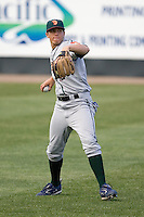 June 22, 2008: The Boise Hawks' Josh Vitters, the Chicago Cubs' #1 prospect according to Baseball America, gets loose in the outfield before a Northwest League game against the Everett AquaSox at Everett Memorial Stadium in Everett, Washington.