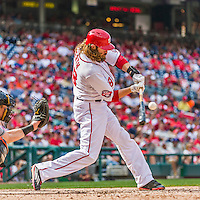 30 August 2015: Washington Nationals outfielder Jayson Werth connects in the 8th inning against the Miami Marlins at Nationals Park in Washington, DC. The Nationals rallied to defeat the Marlins 7-4 in the third game of their 3-game weekend series. Mandatory Credit: Ed Wolfstein Photo *** RAW (NEF) Image File Available ***
