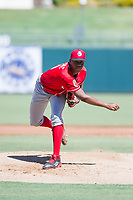 Cincinnati Reds pitcher Hunter Greene (21) follows through on his delivery during an Instructional League game against the Kansas City Royals October 2, 2017 at Surprise Stadium in Surprise, Arizona. (Zachary Lucy/Four Seam Images)