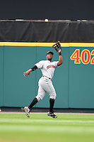 Indianapolis Indians outfielder Mel Rojas (3) catches a fly ball during a game against the Rochester Red Wings on July 26, 2014 at Frontier Field in Rochester, New  York.  Rochester defeated Indianapolis 1-0.  (Mike Janes/Four Seam Images)
