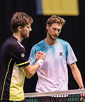 Rotterdam, Netherlands, 11 februari, 2018, Ahoy, Tennis, ABNAMROWTT, Qualifying final,  Martin Klizan (SVK) wins and is congretulated by Seppi (ITA) (R)<br /> Photo: Henk Koster/tennisimages.com