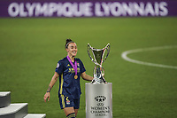 30th August 2020, San Sebastien, Spain;  Lucy Bronze of Lyon with winners medal in front of trophy after winning the UEFA Womens Champions League football match Final between VfL Wolfsburg and Olympique Lyonnais 3-1 UEFA Womens Champions League football match Final between VfL Wolfsburg and Olympique Lyonnais.