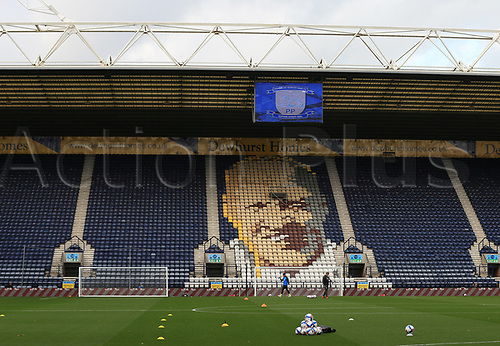 31st October 2020; Deepdale Stadium, Preston, Lancashire, England; English Football League Championship Football, Preston North End versus Birmingham City; a pyramid of practice balls is set up in front of the seat mural of club legend Bill Shankly