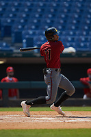 Elijah Lambros (11) of Fredericksburg Christian School in Fredericksburg, VA playing for the Arizona Diamondbacks scout team during the East Coast Pro Showcase at the Hoover Met Complex on August 4, 2020 in Hoover, AL. (Brian Westerholt/Four Seam Images)