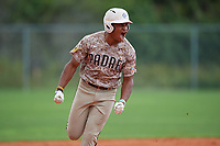 Christian Moore (7) during the WWBA World Championship at Lee County Player Development Complex on October 11, 2020 in Fort Myers, Florida.  Christian Moore, a resident of Brooklyn, New York who attends Suffield Academy, is committed to Tennessee.  (Mike Janes/Four Seam Images)