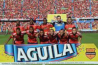 MEDELLÍN -COLOMBIA-22-02-2015. Jugadores de Independiente Medellín posan para una foto de grupo previo al partido con La Equidad por la fecha 5 de la Liga Águila I 2015 jugado en el estadio Atanasio Girardot de la ciudad de Medellín./ Players of Independiente Medellin pose to a photo prior the match against La Equidad for the  5th date of the Aguila League I 2015 at Atanasio Girardot stadium in Medellin city. Photo: VizzorImage/León Monsalve/STR