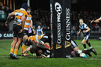 Ma'afu Fia of Ospreys scores his sides first try during the Guinness Pro 14 Round 7 match between Ospreys and Cheetahs at The Gnoll in Neath, Wales, UK. Saturday 30 November 2019