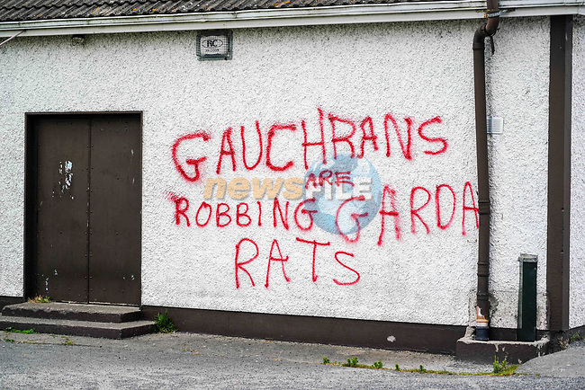 Graffiti on walls of Tony McArdle's shop in John Kirk Park in Clogherhead. 18/05/2020.<br /> Picture Thos Caffrey / Newsfile.ie<br /> <br /> All photo usage must carry mandatory copyright credit (© Newsfile   Thos Caffrey)