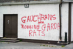 Graffiti on walls of Tony McArdle's shop in John Kirk Park in Clogherhead. 18/05/2020.<br /> Picture Thos Caffrey / Newsfile.ie<br /> <br /> All photo usage must carry mandatory copyright credit (© Newsfile | Thos Caffrey)