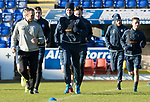 St Johnstone Training….26.01.18<br />Steven MacLean pictured during a training session running alongside sports scientist Alex Headrick at McDiarmid Park this morning ahead of tommorrow's game against Partick Thistle.<br />Picture by Graeme Hart.<br />Copyright Perthshire Picture Agency<br />Tel: 01738 623350  Mobile: 07990 594431