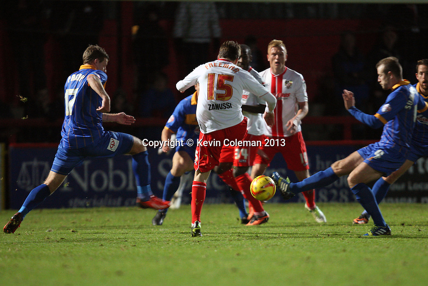 Luke Freeman of Stevenage's shot is blocked<br />  - Stevenage v Shrewsbury Town - Sky Bet League 1 - Lamex Stadium, Stevenage - 30th November, 2013<br />  © Kevin Coleman 2013