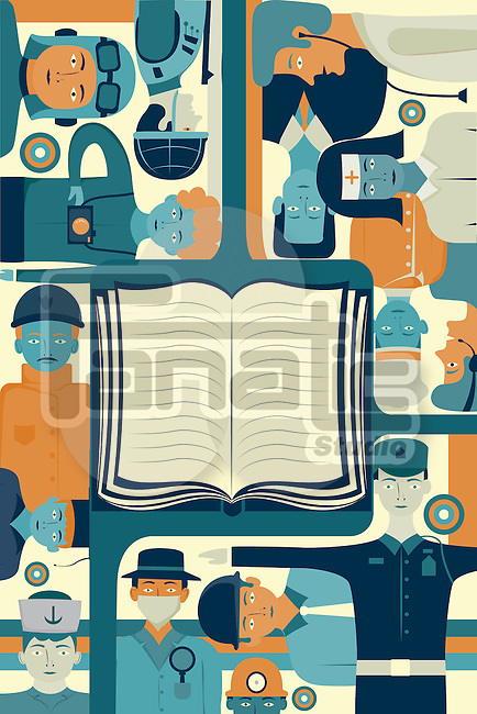 Illustrative image of book surrounded by successful people representing key to success