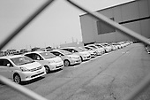 Toyota City, Japan.June 15, 2009..Toyota City, the Detroit of Japan, and home of Toyota car manufacturing company. The Good Luck car storage facility where Toyota stores new cars before shipping them out to Japan's domestic market.