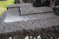 Yogyakarta, Java, Indonesia.  Prambanan Stones, showing how grooves were cut to stabilize stones in place.