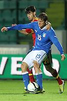 """Simone Romagnoli e Suso.Siena 13/11/2012 Stadio """"Franchi"""".Football Calcio Nazionale U21.Italia v Spagna.Foto Insidefoto Paolo Nucci."""