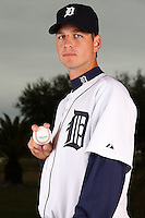 February 27, 2010:  Pitcher Jacob Turner (50) of the Detroit Tigers poses for a photo during media day at Joker Marchant Stadium in Lakeland, FL.  Photo By Mike Janes/Four Seam Images