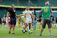 Phil Dollman of Exeter Chiefs carries the trophy after winning the Premiership Rugby Final at Twickenham Stadium on Saturday 27th May 2017 (Photo by Rob Munro)