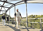 JEJU, SOUTH KOREA - APRIL 25:  Ernie Els of South Africa crosses a bridge on the 16th hole during the Round Three of the Ballantine's Championship at Pinx Golf Club on April 25, 2010 in Jeju, South Korea.  Photo by Victor Fraile / The Power of Sport Images