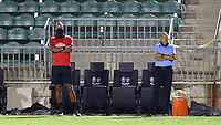 CARY, NC - AUGUST 01: Khano Smith and Tommy Soehn watch from the technical area during a game between Birmingham Legion FC and North Carolina FC at Sahlen's Stadium at WakeMed Soccer Park on August 01, 2020 in Cary, North Carolina.