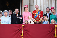 Queen, Prince Phillip, Camilla Duchess of Cornwall, Prince Charles, Queen, Prince Phillip, Catherine Duchess of Cambridge, Princess Charlotte, Prince George, Prince William, Savannah and Isla Phillips, Peter Phillips<br /> on the balcony of Buckingham Palace during Trooping the Colour on The Mall, London. <br /> <br /> <br /> ©Ash Knotek  D3283  17/06/2017
