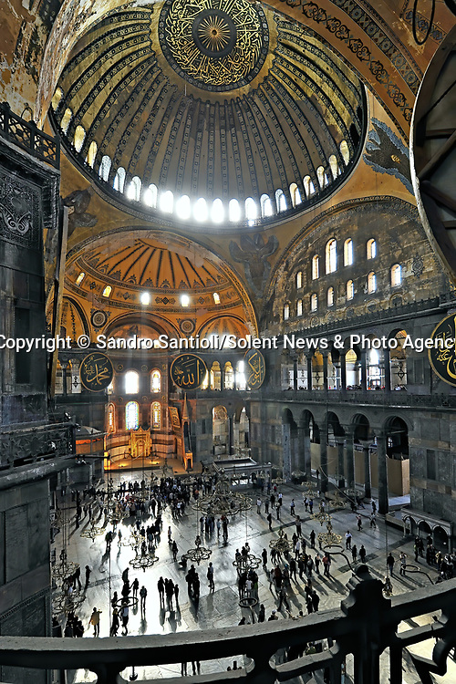 Pictured: REVEAL: Hagia Sophia Holy Grand Mosque in Istanbul, Turkey. <br /> <br /> A series of photographs of ceilings from historic buildings show off kaleidoscopic patterns.  Italian photographer Sandro Santioli captured the mesmerising and intricately decorated interiors of some of Istanbul's grandest places of worship.<br /> <br /> The symmetry of the designs adorning ceilings in Topkapı Palace, Sultan Ahmed Mosque and Hagia Sophia Grand Mosque create kaleidoscopic patterns.  As well as Istanbul, Turkey, Mr Santioli photographed ceilings at the Amber Fortress in Jaipur, India.  SEE OUR COPY FOR DETAILS. <br /> <br /> Please byline: Sandro Santioli/Solent News<br /> <br /> © Sandro Santioli/Solent News & Photo Agency<br /> UK +44 (0) 2380 458800