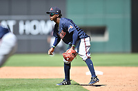 Gwinnett Braves second baseman Ozzie Albies (1) during a game against the Charlotte Knights at BB&T Ballpark on May 7, 2017 in Charlotte, North Carolina. The Knights defeated the Braves 7-1. (Tony Farlow/Four Seam Images)