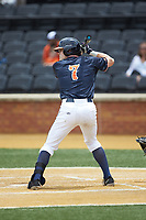 Devin Ortiz (7) of the Virginia Cavaliers at bat against the Wake Forest Demon Deacons at David F. Couch Ballpark on May 19, 2018 in  Winston-Salem, North Carolina. The Demon Deacons defeated the Cavaliers 18-12. (Brian Westerholt/Four Seam Images)