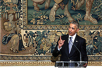Pictured: US President Barack Obama. Tuesday 15 November 2016<br /> Re: US President Barack Obama attends official stat banquet at the Presidential Mansion during his visit to Athens Greece