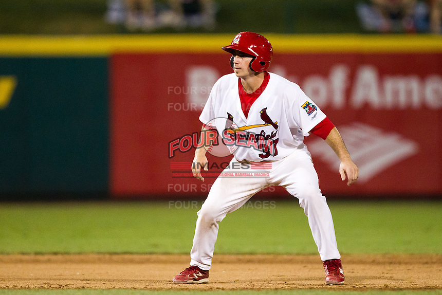Charles Cutler (37) of the Springfield Cardinals takes a lead off of second base during a game against the Northwest Arkansas Naturals at Hammons Field on August 1, 2011 in Springfield, Missouri. Springfield defeated Northwest Arkansas 7-1. (David Welker / Four Seam Images)