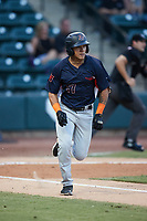 Pedro Martinez (17) of the Bowling Green Hot Rods hustles down the first base line against the Winston-Salem Dash at Truist Stadium on September 7, 2021 in Winston-Salem, North Carolina. (Brian Westerholt/Four Seam Images)