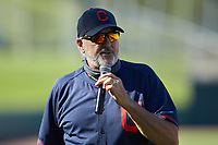 Bob Mayer addresses the crowd after being honored for 30 years as a scout prior to the start of game six the East Coast Pro Showcase at the Hoover Met Complex on August 3, 2020 in Hoover, AL. (Brian Westerholt/Four Seam Images)